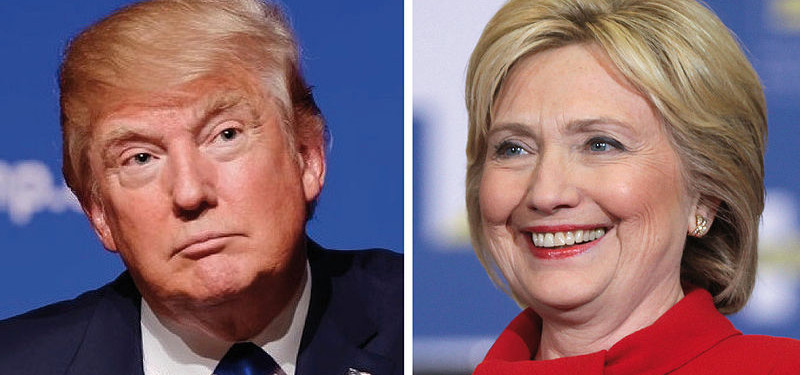 Trump and Clinton running for president 2016