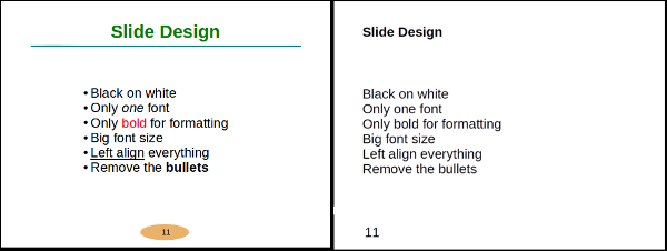 compare bad and good slide style